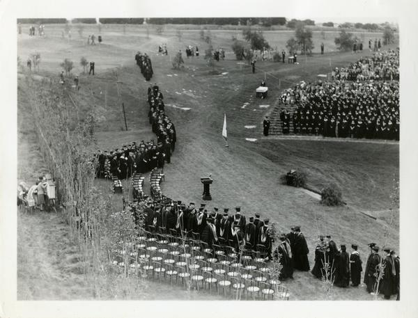 Students filing in at Commencement, circa 1940's