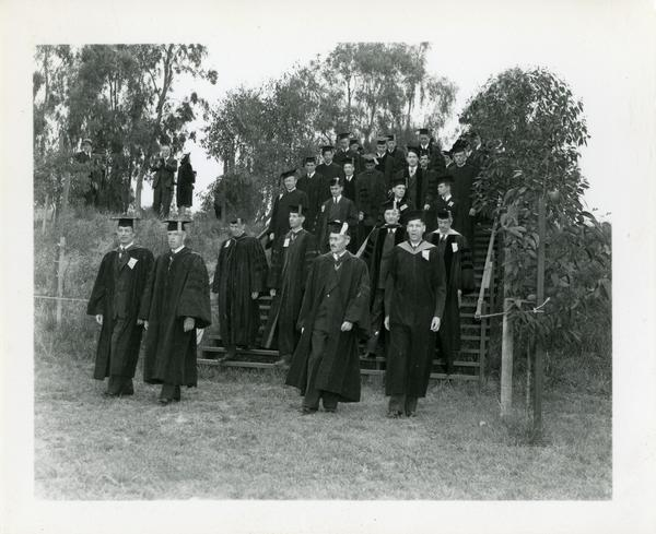 Faculty filing in for Commencement, circa 1940's