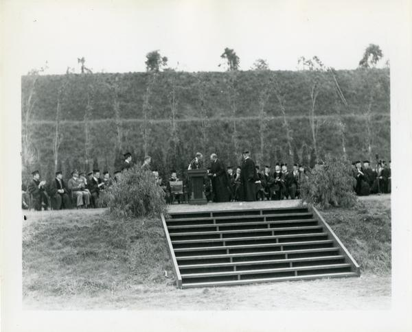 View of stage at Commencement, circa 1940's