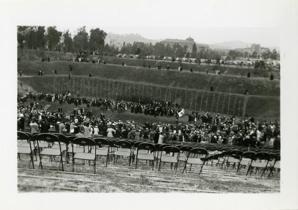 Looking towards stage from top of Open Air Theatre during Commencement, circa 1940's