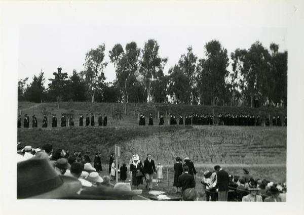 Graduates in line at Commencement, circa 1940's