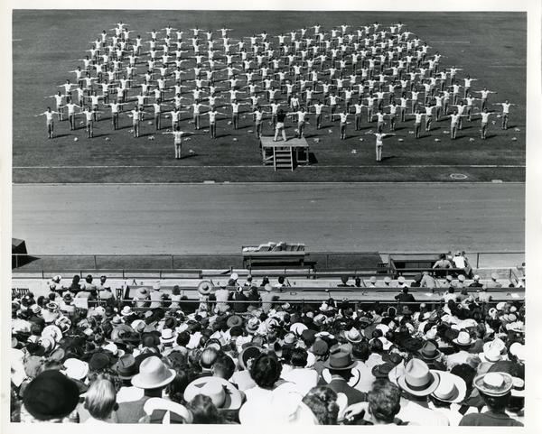 Physical Education Demonstration by Pomona College Cadets at Coliseum during UCLA and Cal Tech meteorology class graduation ceremonies, September 1943