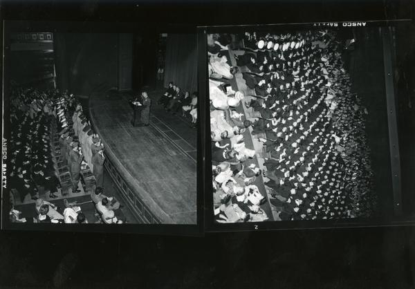 Contact prints of the speakers at commencement, ca. 1962