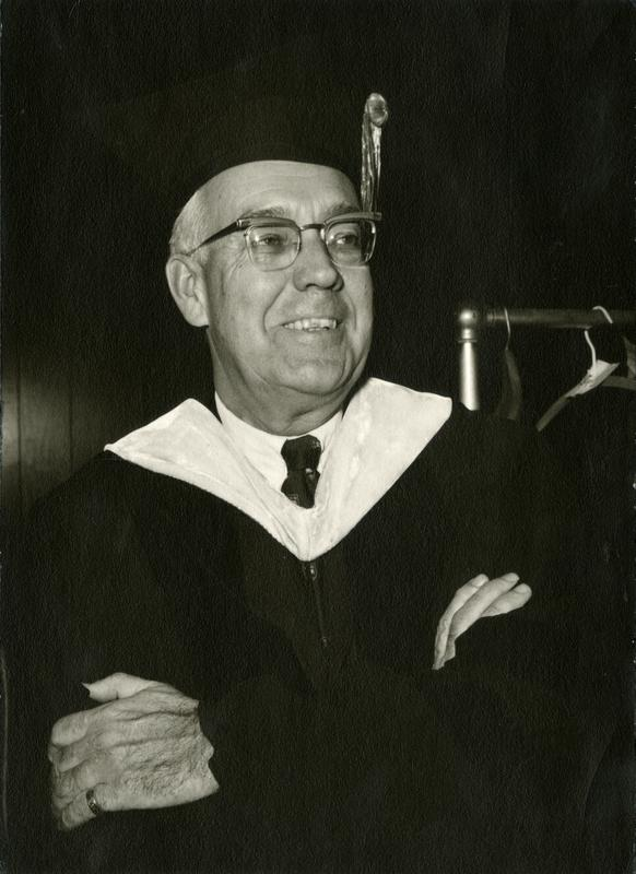 Erwin Canham, editor of the Christian Science Monitor at Mid-Year Graduation, ca. 1963