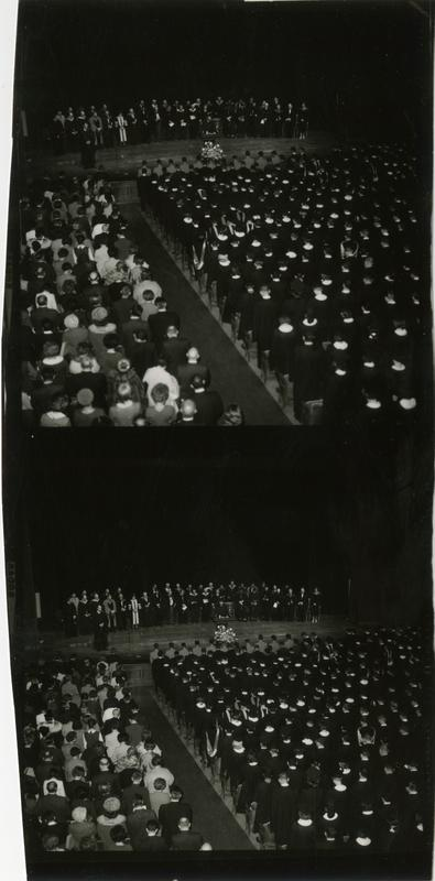 Contact prints of the full auditorium during Mid-Year Commencement, January 28, 1964