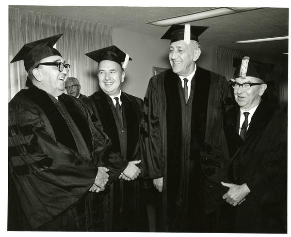 Alfonso Caso Felipe Herrera, Gregor Piatigorsky and Louis Booker Wright at Commencement, June 1967