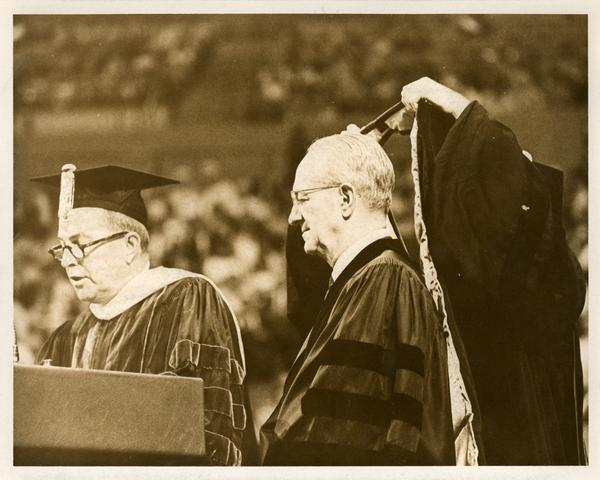 Man being hooded at Commencement, June 14, 1968