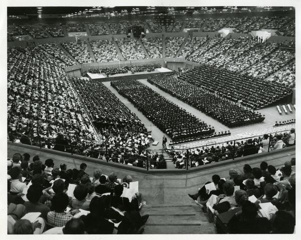 View of Pauley Pavilion staged for Commencement, June 14, 1968