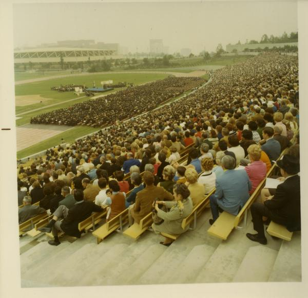 Looking towards stage from stands at Commencement, June 17, 1970