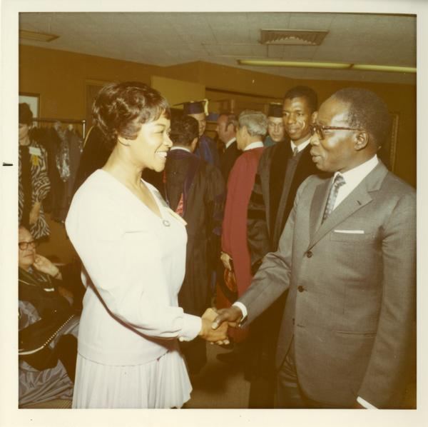 Dorothy shaking hands with Dr Keeper, 1971