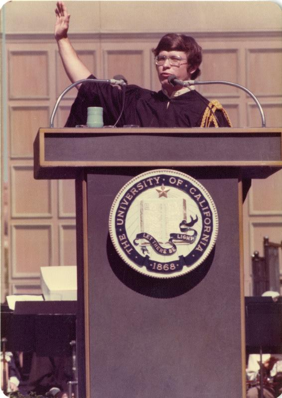 Student Brian Budenholzer addressing the crowds at commencement, June 1976