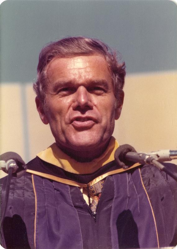 UCLA Alumni President James Collins speaking at commencement, June 1976