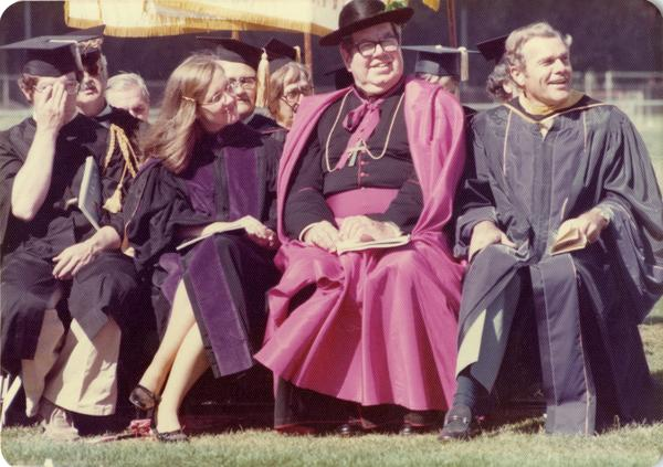 Shot of commencement speakers, June 1976