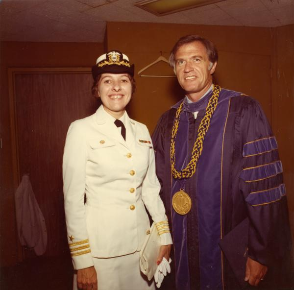 NROTC member Linda P. Richardson with Chancellor Charles E. Young at commencement, June 1976