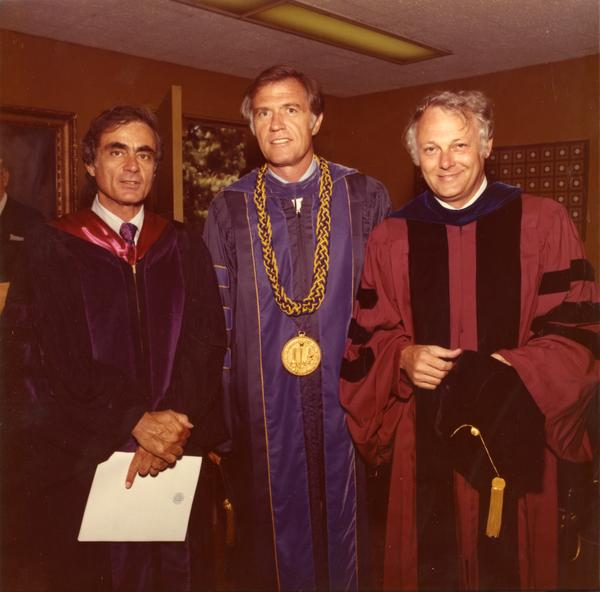 Vice Chancellor Harold Horowitz, Chancellor C.E. Young, and Executive Vice Chancellor William P. Gerberding in the robing room waiting for commencement, June 1976