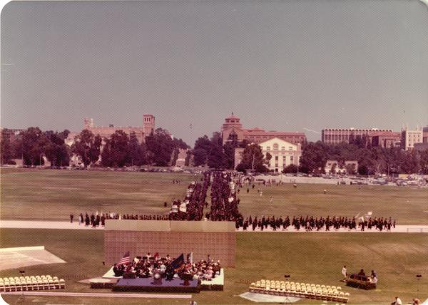 Beginning of the academic procession for commencement, June 1976