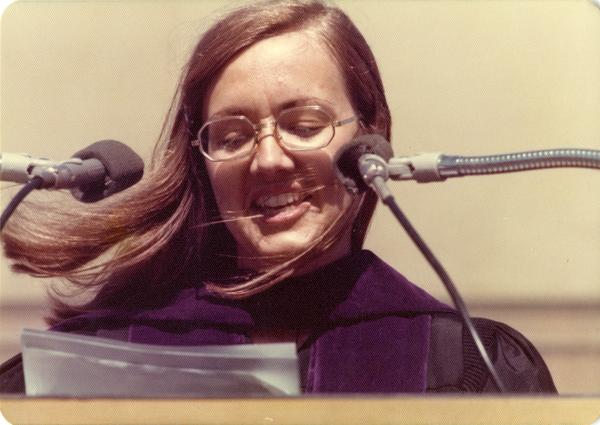 Darlene Walsh, the graduate student speaker at commencement, June 1976