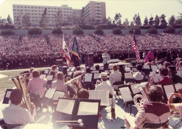 The UCLA band performing at commencement, June 1976