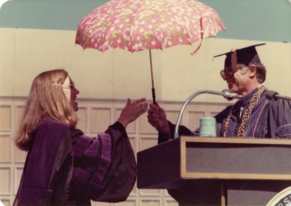 Darlene Walsh and Chancellor Charles E. Young at commencement, June 1976