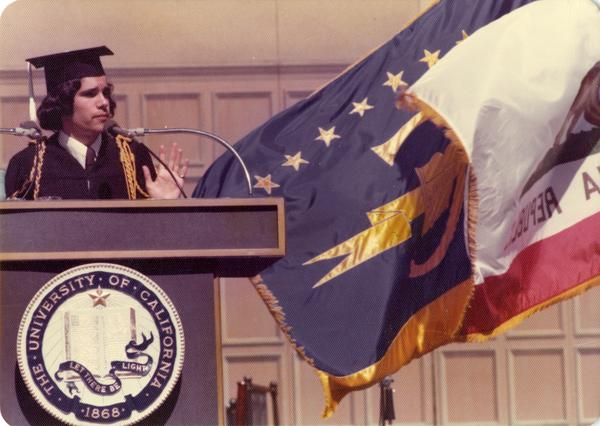 President Lindsey Connor of the Undergraduate Student Association addressing the crowds at commencement, June 1976