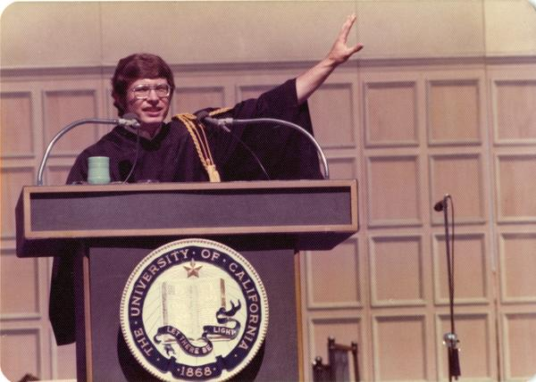 Student speaker, Brian Budenholzer addressing the audience at commencement, June 1976