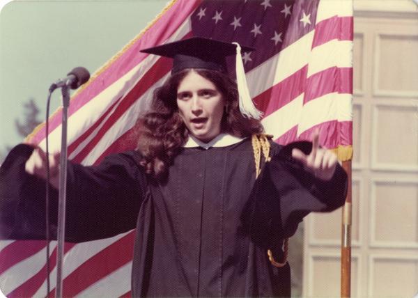 Judith Dubin addresses crowd at commencement, June 1976