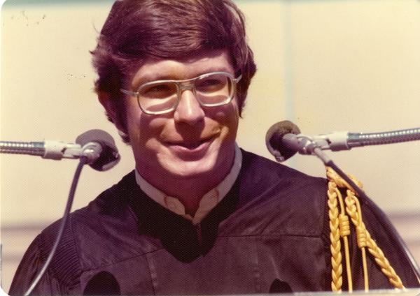 Brian Budenholzer addressing the crowd at commencement, June 1976