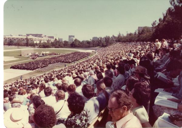 Crowds at commencement, June 1976