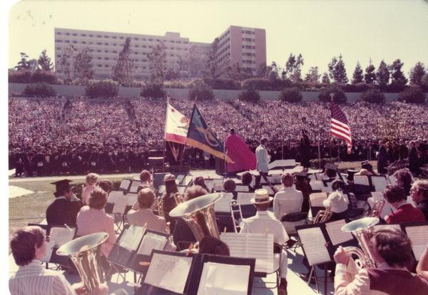 UCLA marching band performing at commencement, June 1976