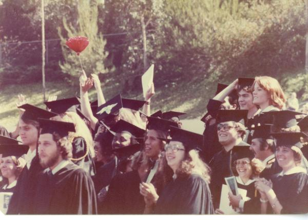 Crowds of graduates at commencement, June 1976