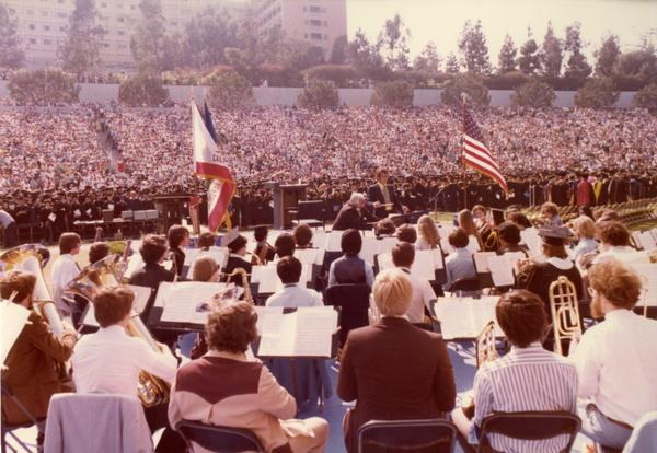 UCLA Band performing at commencement, June 1977