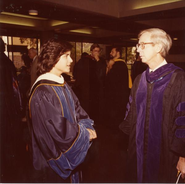 Members of the platform party converse before commencement, June 1979