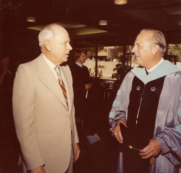 Members of the commencement talking before the ceremony, June 1979