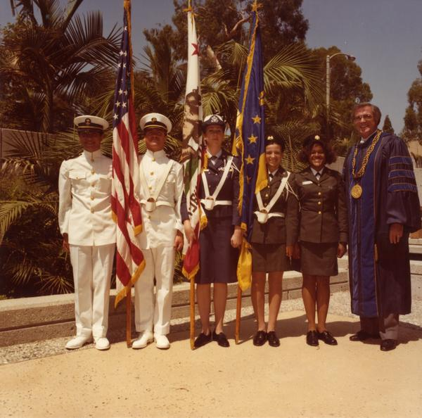 Color Guard with Chancellor Charles E. Young at commencement, June 1979
