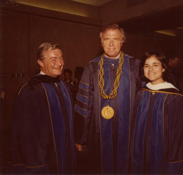 Chancellor Charles E. Young with two other members of the platform party for commencement, June 1979