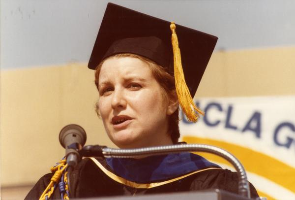 Student speaker addresses crowds at commencement, June 1979