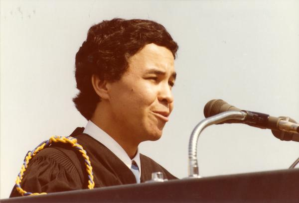 Student speaker addresses the crowds at commencement, June 1979