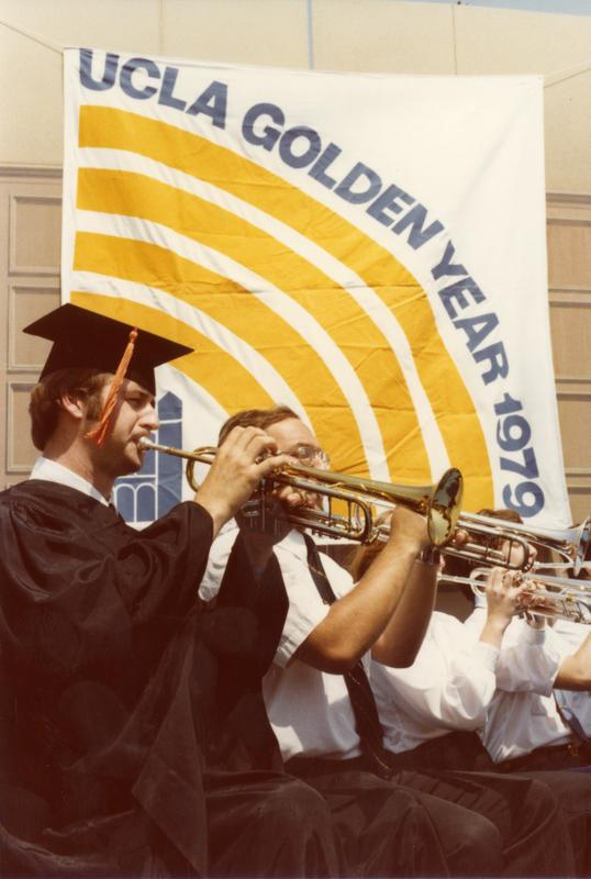UCLA Band playing at commencement, June 1979