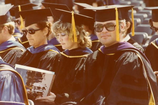 Members of the party platform at commencement, June 1979