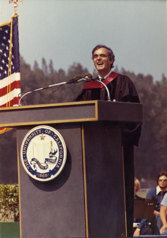 Member of the party platform addresses the crowd at commencement