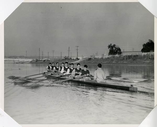 Members of the Crew team on the water, April 14, 1964
