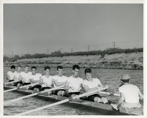 Members of the crew team on the water, ca. 1940's