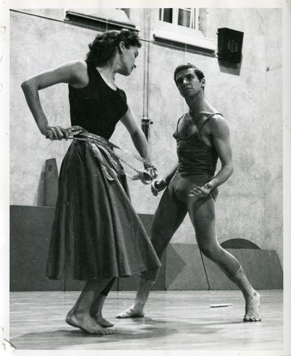 Jerry Jackson and Joan Nicholson performing part of their routine as Theseus and Ariadne in rehearsal, 1959