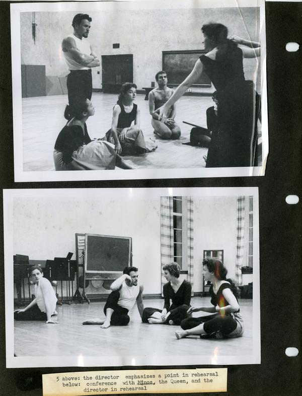 Picture above: The director addressing a point in rehearsal; Below: Conference with Minos, the Queen, and the director in rehearsal
