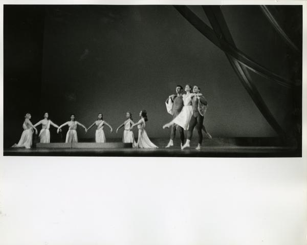 Trio performing in a theatrical performance, ca. 1960's