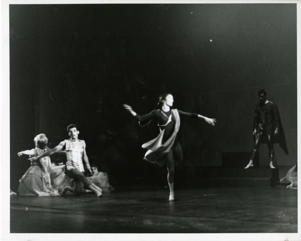 """Dancers performing in """"Realm of Sorrow"""" for a UCLA Dance Concert, ca. 1960's"""