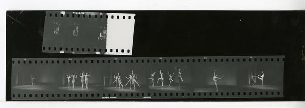 Contact sheet of dancers performing for a theatrical production, ca. 1960's