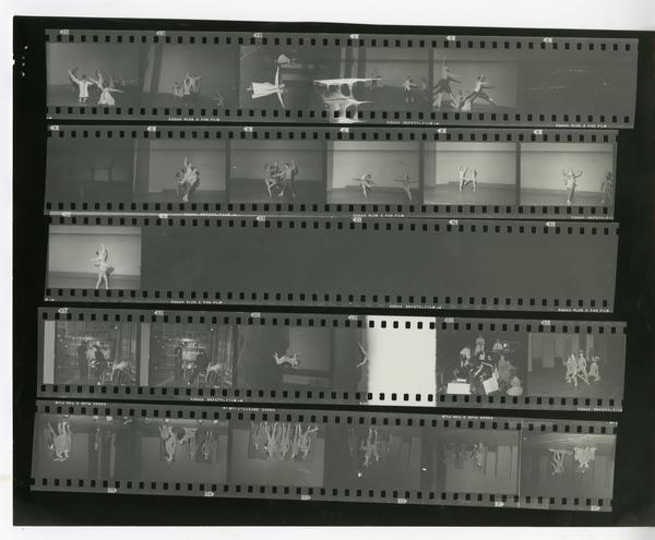 Contact sheet of dancers performing a theatrical production, ca. 1960's