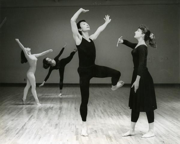 Dancers of the UCLA Dance Company practicing with Carol Scothorn, 1968