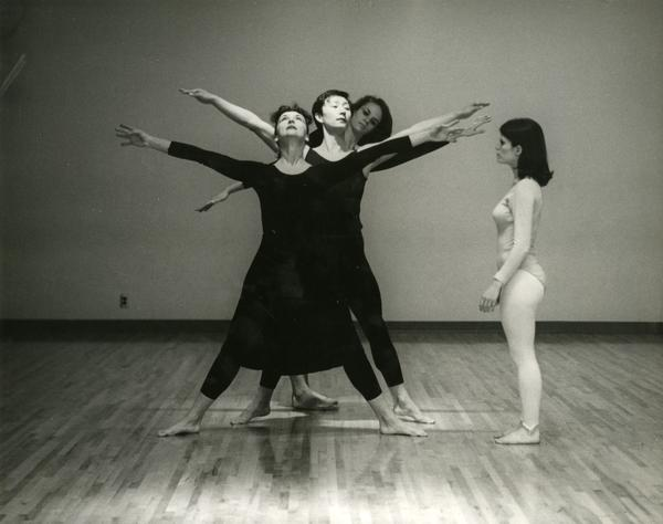 Carol Scothorn practicing with members of the UCLA Dance Company, 1968